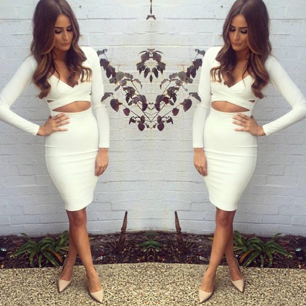 Two Pieces Long Sleeves Bodycon Set - Awesome World - Online Store  - 5