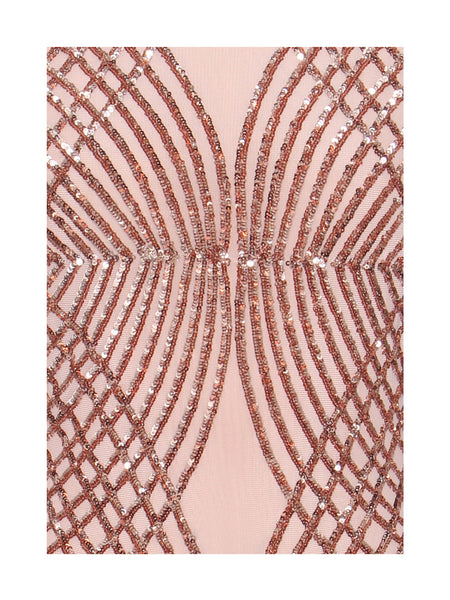Beige Sequin Detail Sheer Mesh Backless Dress - Awesome World - Online Store  - 4