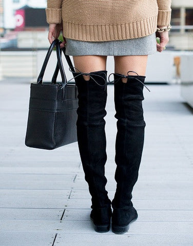 Kardash Black Over Knee Boots - 2 Heel Sizes & 2 Models