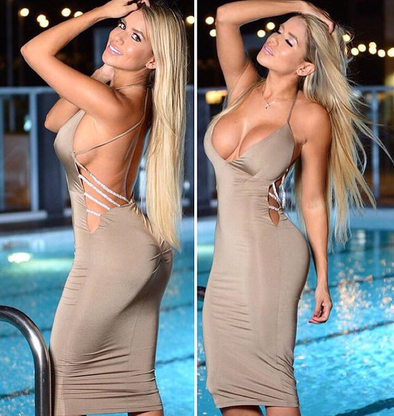 Bodycon Midi Backless Dress - Red or Nude-Silver - Awesome World - Online Store  - 4