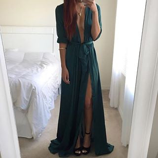 Green Beaut Split Dress - Awesome World - Online Store  - 3