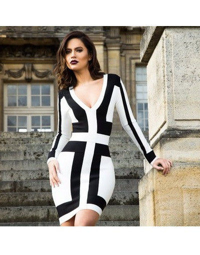 Monochrome Deep V Neck Dress - Awesome World - Online Store  - 1