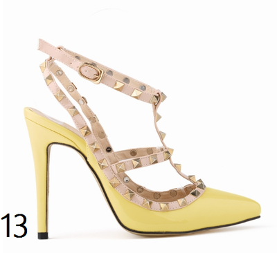 12 cm Heel Bright Rivets Pumps - 10 colors - Awesome World - Online Store  - 17