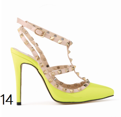 12 cm Heel Bright Rivets Pumps - 10 colors - Awesome World - Online Store  - 18