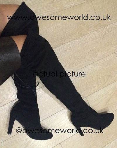 Kardash Black Over Knee Boots - 2 Heel Sizes & 2 Models - Awesome World - Online Store  - 5