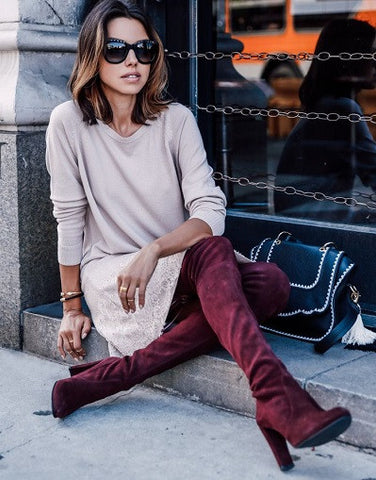 Kardash Wine Red Over Knee Boots