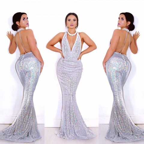 Till The Glitter Ends Silver Maxi Dress