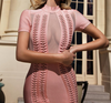 Bandage Mesh Neck Pink Dress w/ Chain Details - Awesome World - Online Store  - 8