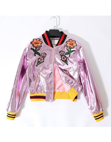 Street Style Flower Bomber Jacket - Limited Stock