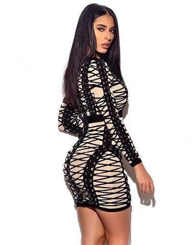 Lace Up Detail Long Sleeve Bandage Dress