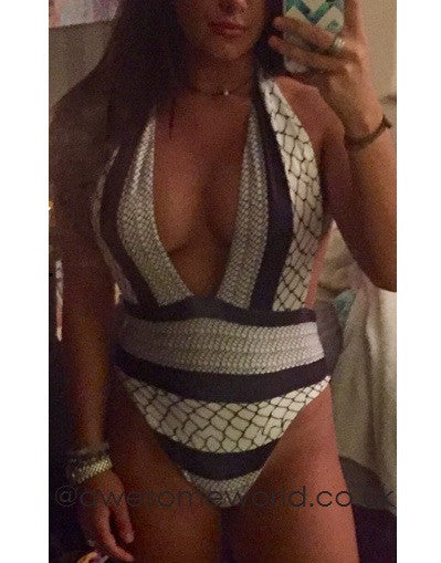 2 in 1: Monochrome Backless Swimsuit & Bodysuit - Awesome World - Online Store  - 5