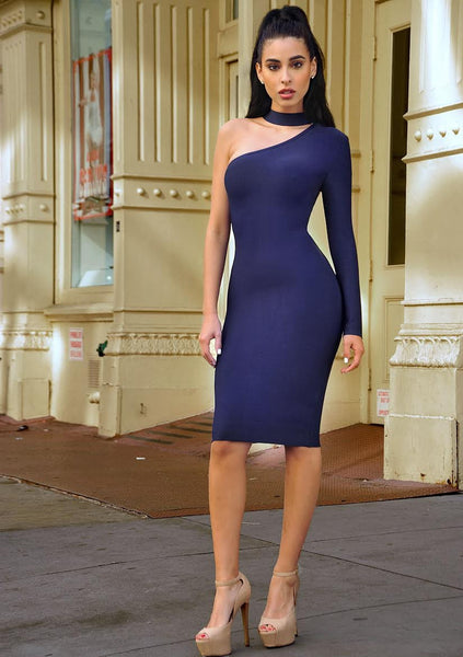 Asymmetric Cut Out Long Sleeve Bandage Dress - Awesome World - Online Store  - 2