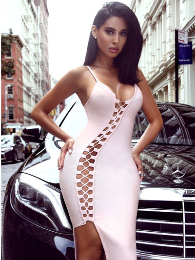 Asymmetric Lace Up Pink Bandage Dress - Awesome World - Online Store  - 1