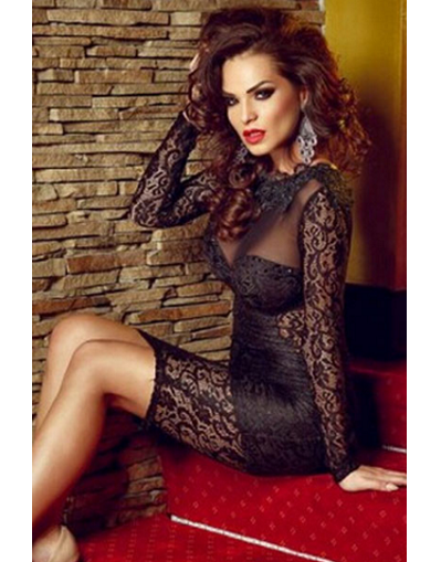 Strappy Backless Black Lace Dress - Awesome World - Online Store  - 2