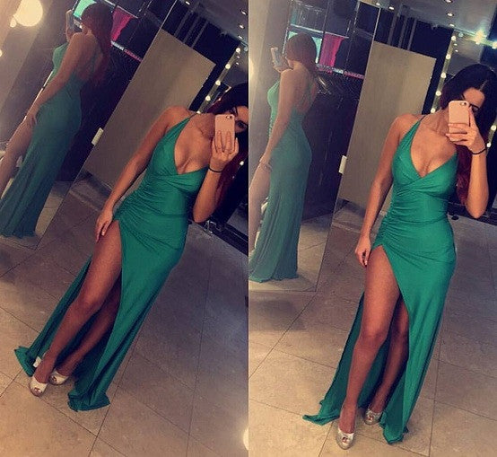 Jade Slinky Style Slit Dress - Awesome World - Online Store  - 4
