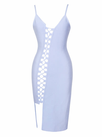 Asymmetric Lace Up Light Blue Bandage Dress - Awesome World - Online Store  - 3