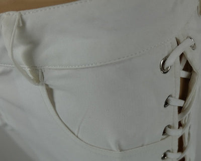 Lace Up Side Trousers - White & Black - Awesome World - Online Store  - 6