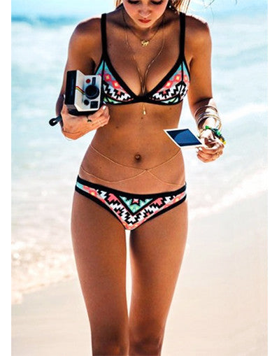 Aztec Black Contrast Bikini - Awesome World - Online Store  - 2