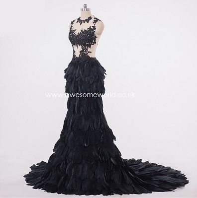 Noir Feather Mesh Gown