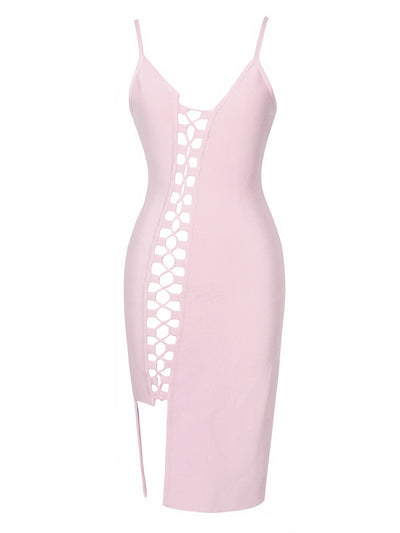 Asymmetric Lace Up Pink Bandage Dress - Awesome World - Online Store  - 3