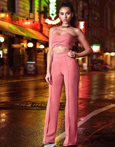 Salmon Pink Two Piece Stretch Crepe Pantsuit - Awesome World - Online Store  - 1