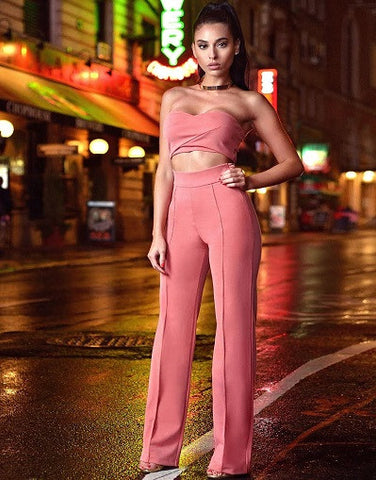 Salmon Pink Two Piece Stretch Crepe Pantsuit