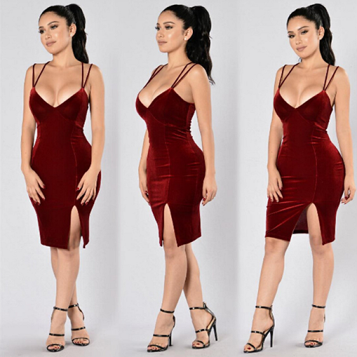 Wine Red Velvet Split Dress - Awesome World - Online Store  - 4
