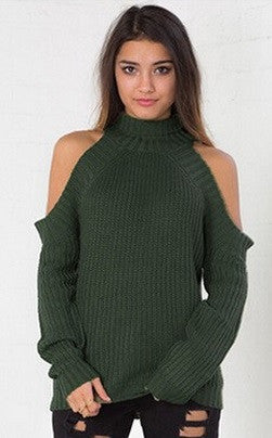 High Neck Without Shoulders Sweater -  6 Colors - Awesome World - Online Store  - 5
