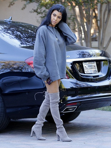 Kardash Grey Over Knee Boots - 2 Heel Sizes & 2 Models - Awesome World - Online Store  - 17