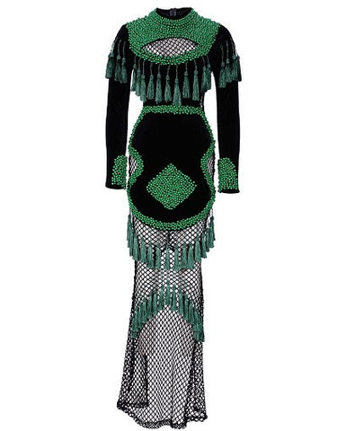 KJ Beading Fringed Dress
