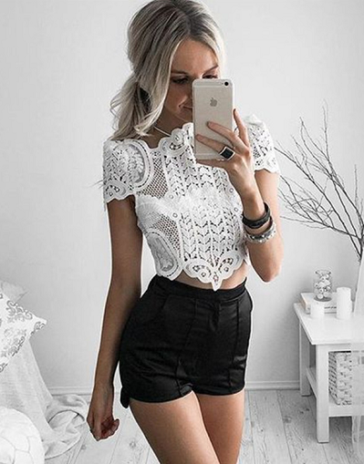 Capri Mesh Crop Top - Black&White - Awesome World - Online Store  - 2