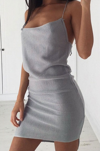 Asymmetric Knitted Style Dress - Grey&White