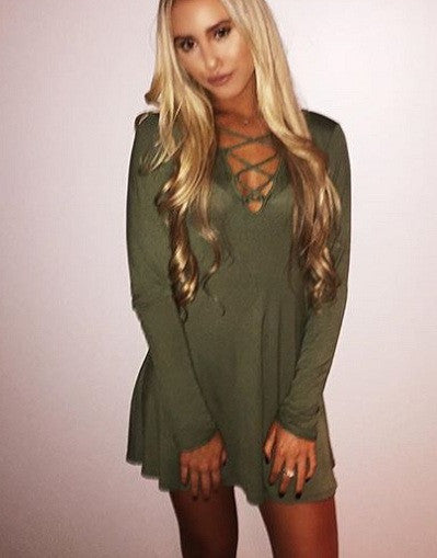 Army Lace Up Mini Dress - Awesome World - Online Store  - 2