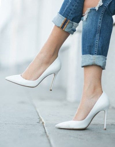 Mate White Stiletto - 3 Heel Sizes - Awesome World - Online Store  - 1