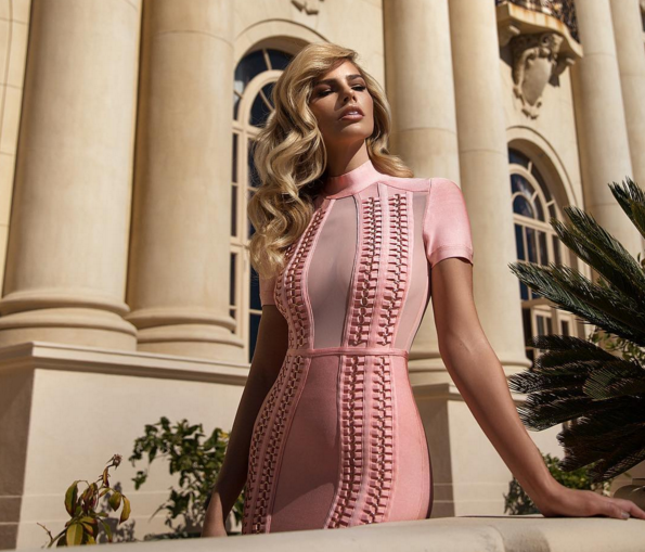 Bandage Mesh Neck Pink Dress w/ Chain Details - Awesome World - Online Store  - 7