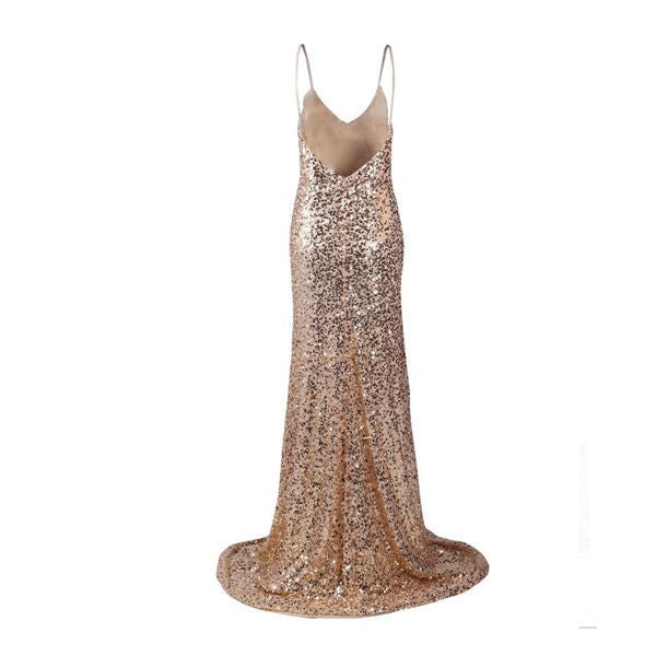 Backless Sequinned Gold Gown - Awesome World - Online Store  - 5