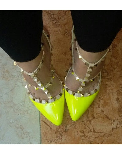 12 cm Heel Bright Rivets Pumps - 10 colors - Awesome World - Online Store  - 1