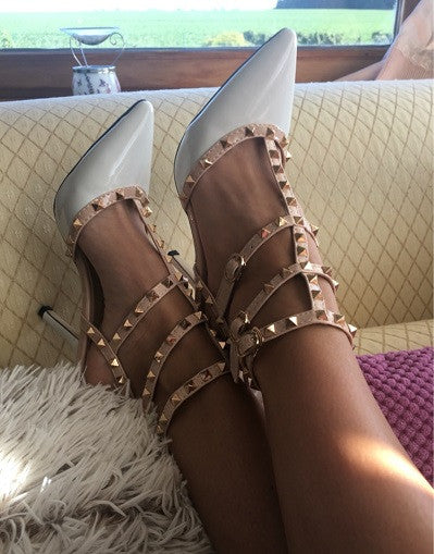3 Straps Rivets Heels - 4 colors - Awesome World - Online Store  - 2