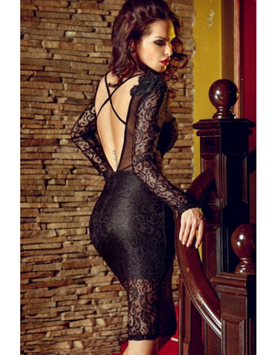 Strappy Backless Black Lace Dress - Awesome World - Online Store  - 1
