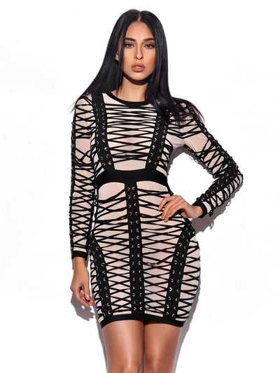 Lace Up Detail Long Sleeve Bandage Dress - Awesome World - Online Store  - 2