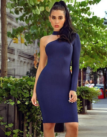 Asymmetric Cut Out Long Sleeve Bandage Dress