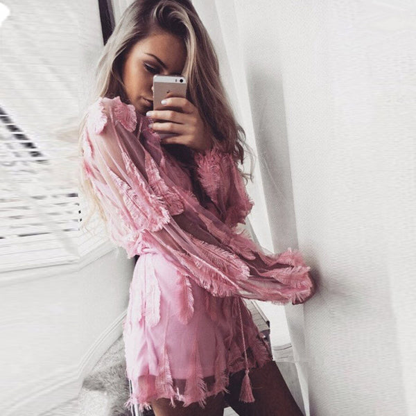 Pink Feathers Jumpsuit - Awesome World - Online Store  - 3