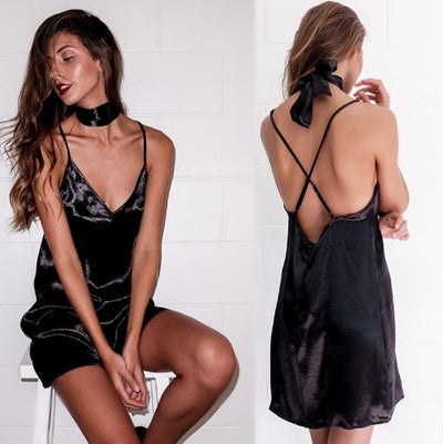 Satin Choker Dress - Awesome World - Online Store  - 3
