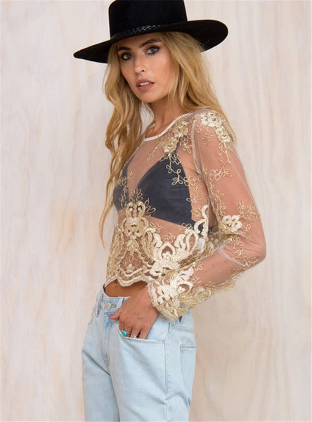 Gold Embroidery Top - Awesome World - Online Store  - 4