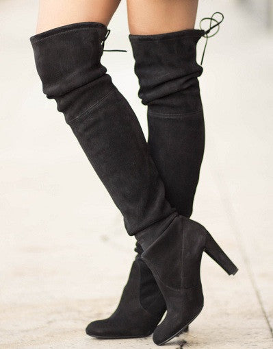 Kardash Black Over Knee Boots - 2 Heel Sizes & 2 Models - Awesome World - Online Store  - 1