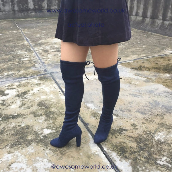 Kardash Royal Blue Over Knee Boots - Awesome World - Online Store  - 2