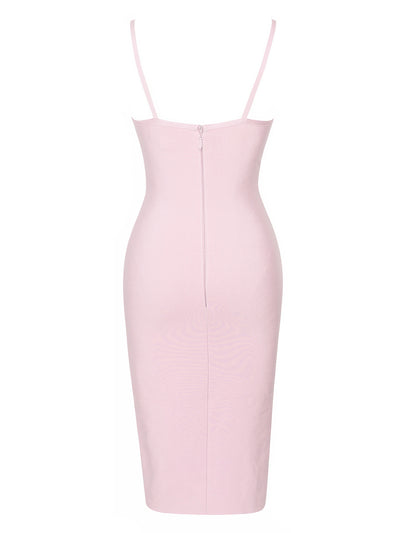 Asymmetric Lace Up Pink Bandage Dress - Awesome World - Online Store  - 4