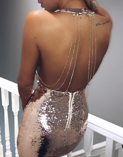 Till The Glitter Ends Rose Gold Mini Dress
