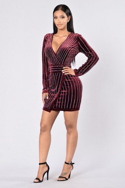 Rhinestone Velvet Dress - 2 colors - Awesome World - Online Store  - 3