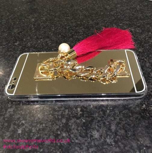 Soft Gold Case with Fringes & Chain - Awesome World - Online Store  - 3